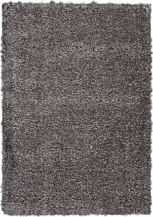 Nourison Luxe Shag Charcoal Gray 5'x7' Flokati Area Rug, Charcoal, large
