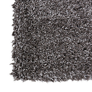 Nourison Luxe Shag Charcoal Gray 8'x10' Large Rug, Charcoal, large