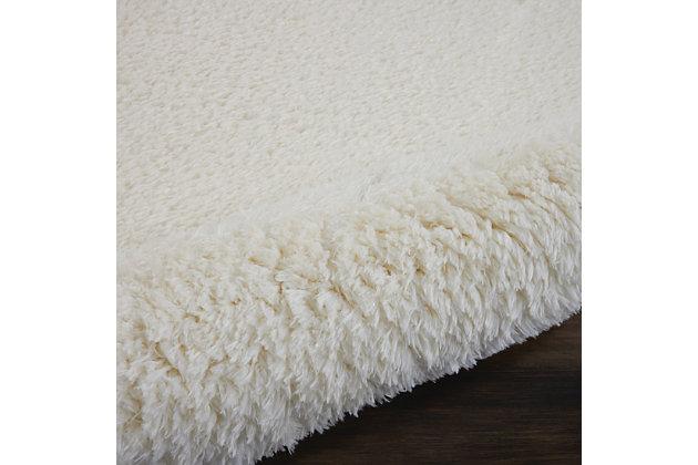 Nourison Luxe Shag 2' X 4' White Plush Area Rug, Ivory, large