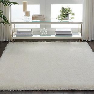 Nourison Luxe Shag White 5'x7' Flokati Area Rug, Ivory, rollover