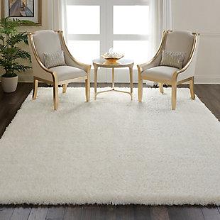 Nourison Luxe Shag White 8'x10' Large Rug, Ivory, large