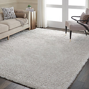 Nourison Luxe Shag Gray 8'x10' Large Rug, Light Gray, large