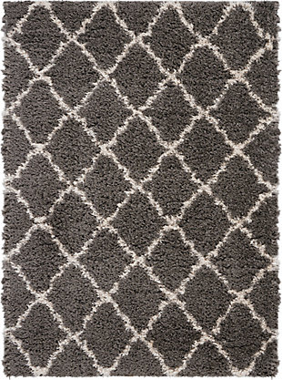 Nourison Luxe Shag Dark Gray 5'x7'Moroccan Area Rug, Charcoal/Beige, large