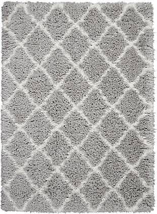Nourison Luxe Shag Gray 5'x7'moroccan Area Rug, Gray/Ivory, large