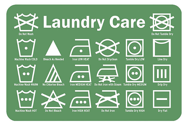 "Home Accents Premium Comfort 1'10"" x 2'7"" Laundry Care Label Mat, Green, large"