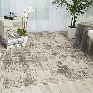 Nourison Gleam Gray and White 5'x7' Area Rug, Ivory/Gray, rollover