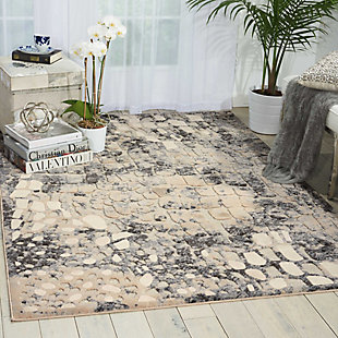 Nourison Gleam White and Gray 5'x7' Area Rug, Flint, rollover