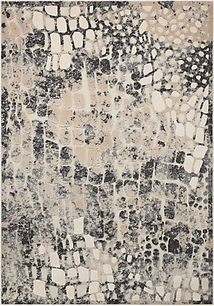 Nourison Gleam White and Gray 5'x7' Area Rug, Flint, large