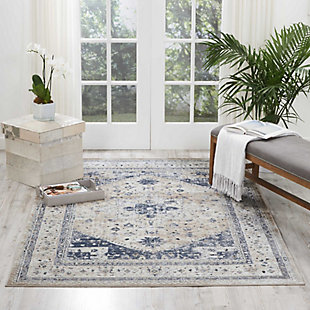 Nourison Home Malta Beige and Blue 5'x8' Area Rug, Beige/Blue, rollover