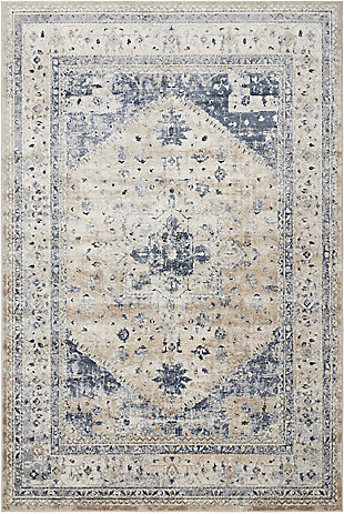 Nourison Home Malta Beige and Blue 5'x8' Area Rug, Beige/Blue, large