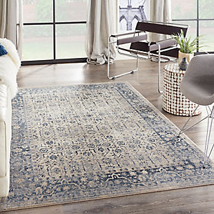 Nourison Home Malta Blue and Ivory 5'x8' Area Rug, Ivory/Blue, rollover