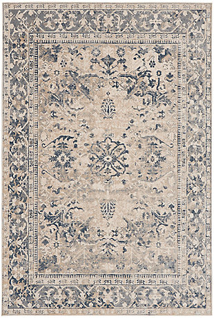 Nourison Home Malta Blue and Ivory 5'x8' Area Rug, Ivory/Blue, large