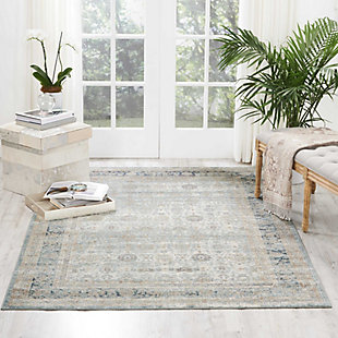 Nourison Home Malta White 5'x8' Area Rug, Cloud, rollover