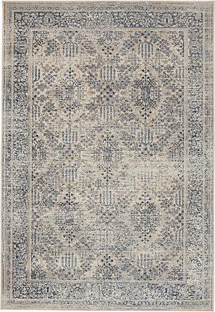 Nourison Ivory/Blue 5'x8' Area Rug, Ivory/Blue, large