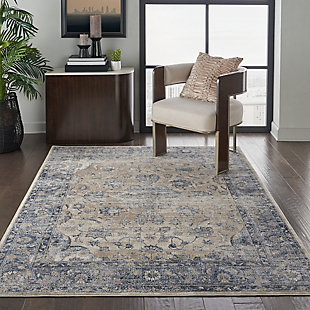 Nourison Blue/Ivory 5'x8' Area Rug, Blue/Ivory, rollover