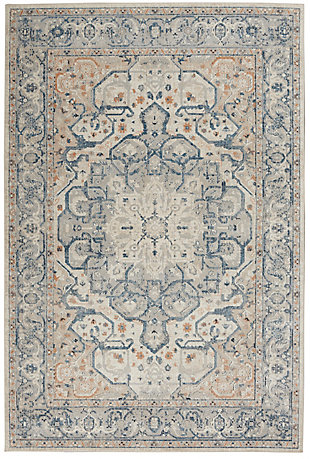 Nourison Malta 5' x 8' Area Rug, Ivory/Gray, large