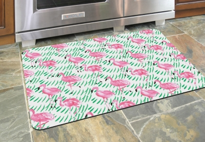 "Home Accents Premium Comfort 1'10"" x 2'7"" Pink Flamingos Mat, , large"