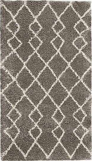 Nourison Nourison Martil 2'x4' Gray Tribal Moroccan Shag Rug, Silver, large