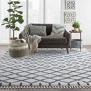 Nourison Nourison Moroccan Shag 8' x 11' Area Rug, White, rollover