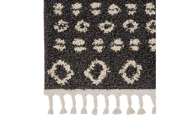 Nourison Nourison Moroccan Shag MRS02 Black 8' Runner Hallway Rug, Charcoal, large