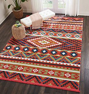 Nourison Nourison Navajo NAV04 Orange Multicolor 8'x11' Oversized Rug, Orange, rollover