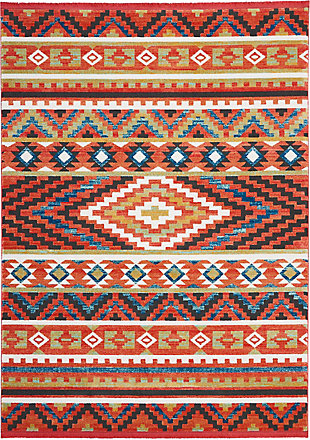 Nourison Nourison Navajo NAV04 Orange Multicolor 8'x11' Oversized Rug, Orange, large