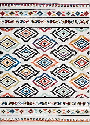 Nourison Nourison Navajo NAV06 White Multicolor 8'x11' Oversized Rug, White, large