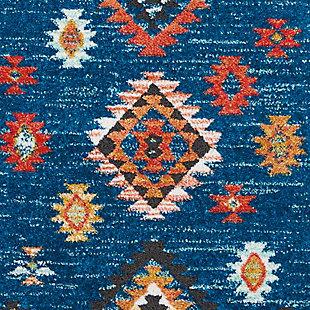 Nourison Nourison Navajo NAV07 Blue 8' Runner Hallway Rug, Blue, large