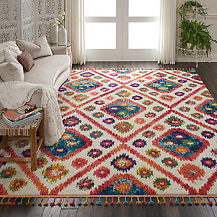 Nourison Nourison Nomad Nmd03 White Multicolor 8'x11' Oversized Rug, Ivory/Pink, rollover