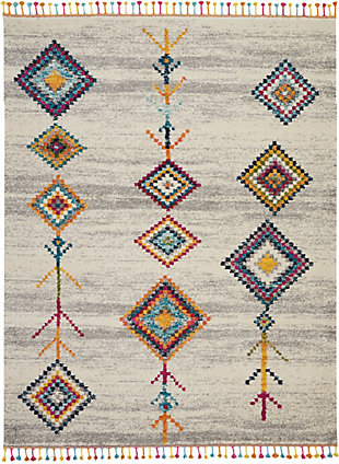 Nourison Nourison Nomad Nmd04 Gray Multicolor 8'x11' Oversized Rug, Cream/Gray, large