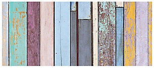 "Home Accents FoFlor 2'1"" x 5' Colored Weathered Wood Accent Runner, Blue, large"