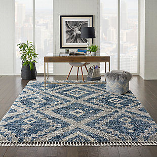 Nourison Nourison Oslo Shag OSL02 8'x11' Large Dark Blue and Gray Scandinavian Shag Rug, Denim Blue, rollover