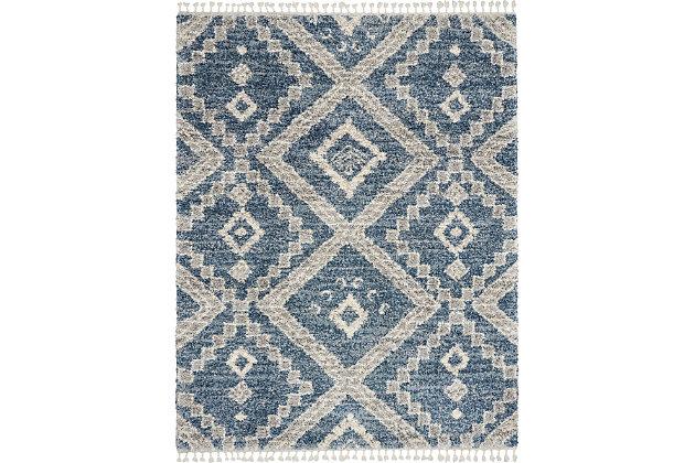 Nourison Nourison Oslo Shag Osl02 8'x11' Large Dark Blue And Gray Scandinavian Shag Rug, Denim Blue, large