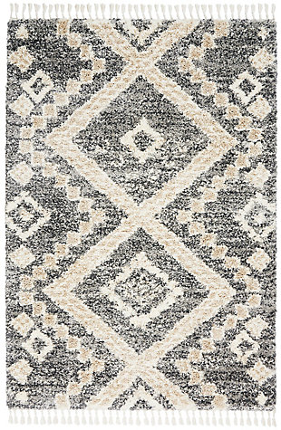 Nourison Nourison Oslo Shag Osl02 5'x8' Charcoal Gray Scandinavian Shag Rug, Gray/Ivory, large