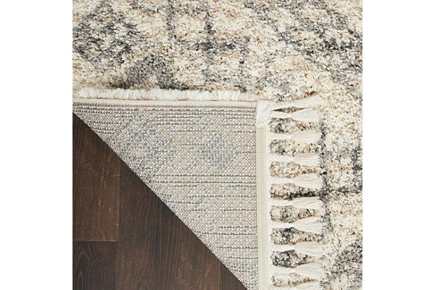Nourison Nourison Oslo Shag Osl02 8'x11' Large Ivory And Gray Scandinavian Shag Rug, Ivory/Gray, large
