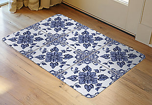 "Home Accents FoFlor 1'11"" x 3' Delft Floral Accent Mat, , rollover"