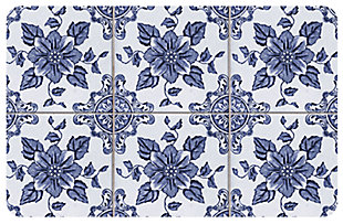 "Home Accents FoFlor 1'11"" x 3' Delft Floral Accent Mat, , large"