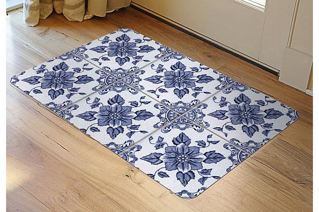 """Home Accents FoFlor 1'11"""" x 3' Delft Floral Accent Mat, , large"""