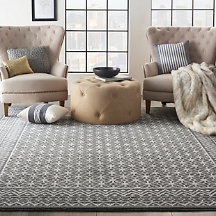 """Nourison Nourison Palermo 8' x 10"""" Charcoal Gray and Silver Distressed Bohemian Area Rug, Charcoal/Silver, rollover"""