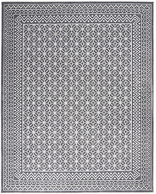 """Nourison Nourison Palermo 8' x 10"""" Charcoal Gray and Silver Distressed Bohemian Area Rug, Charcoal/Silver, large"""