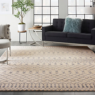 "Nourison Nourison Palermo 8' x 10"" Beige and Blue Distressed Bohemian Area Rug, Beige Blue, rollover"