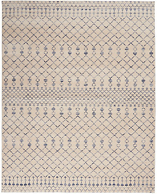 "Nourison Nourison Palermo 8' x 10"" Beige and Blue Distressed Bohemian Area Rug, Beige Blue, large"