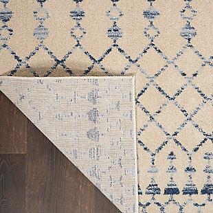 "Nourison Nourison Palermo 8' x 10"" Beige and Blue Distressed Bohemian Area Rug, Beige Blue, large"