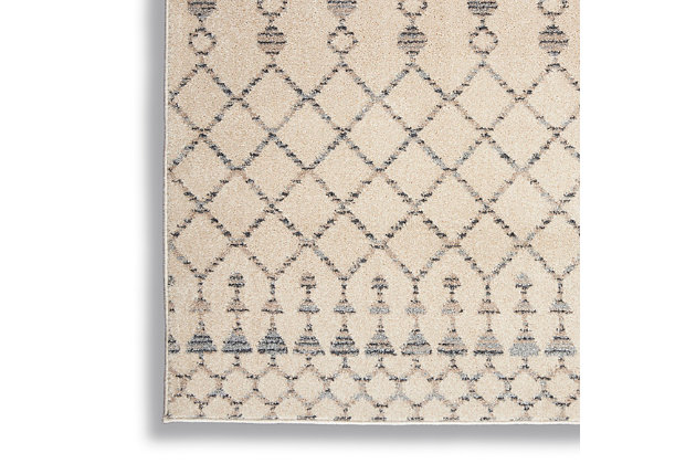 Nourison Nourison Palermo 4' X 6' Beige And Gray Distressed Bohemian Area Rug, Beige/Gray, large