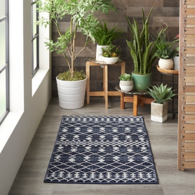 Nourison Nourison Palermo 2' X 4' Navy And Gray Distressed Bohemian Area Rug, Navy/Gray, large