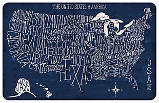 "Home Accents 1'11"" x 3' US Blueprint Map Accent Mat, , large"