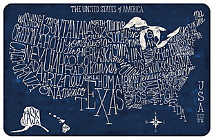 """Home Accents 1'11"""" x 3' US Blueprint Map Accent Mat, , rollover"""