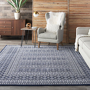 """Nourison Nourison Palermo 8' x 10"""" Navy and Gray Distressed Bohemian Area Rug, Navy/Gray, rollover"""