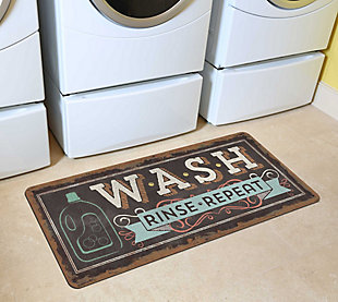 "Home Accents 2'1"" x 5' Wash, Rinse, Repeat Laundry Runner, , rollover"