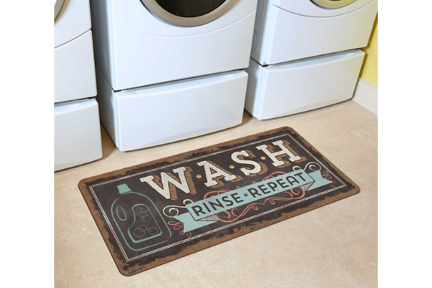 "Home Accents 2'1"" x 5' Wash, Rinse, Repeat Laundry Runner, , large"